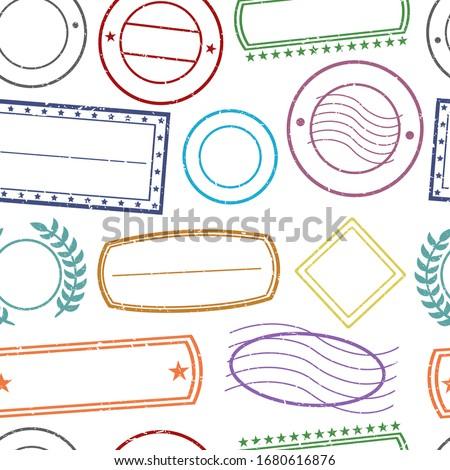 Stamps Pattern. Seamless Background Symbols. Postmark Drawn Sketch Design Vector. Photo stock ©