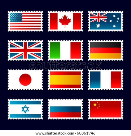 Stamps representing world flags.  USA, Canada, Australia, UK, Italy, Germany, Japan, Russia, France, Israel, China