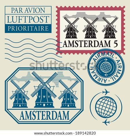 Stamps set with word Amsterdam inside, vector illustration
