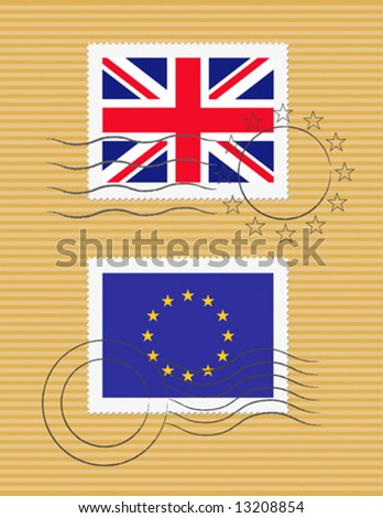 Stamps with British and European Union flag stamps