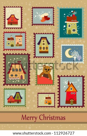 Stamps with cute houses