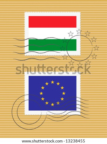 Stamps with Hungarian and European Union flags