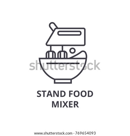 stand food mixer line icon, outline sign, linear symbol, vector, flat illustration
