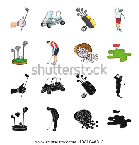 Stand for a golf club, muzhchin playing with a club, basket with balls, label with a flag on the golf course. Golf Club set collection icons in black,cartoon style vector symbol stock illustration web