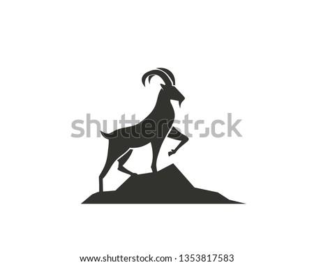 stand goat on rock logo design