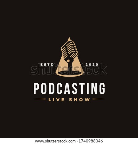 Stand microphone on spotlight logo, podcasting logo icon vector template on black background