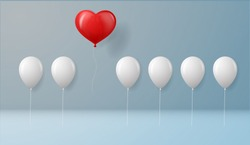 Stand out from the crowd and different concept One red heart balloon flying away from other white balloons on wall background with shadows.success concept