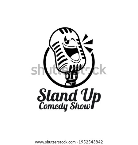 Stand Up Comedy Logo Design with Funny Microphone Character Design. Stock foto ©