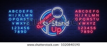 Stand Up Comedy Show is a neon sign. Neon logo, bright luminous banner, neon poster, bright night-time advertisement. Stand up show. Invitation to the Comedy Show. Vector. Editing text neon sign Stockfoto ©