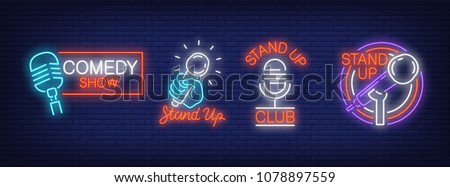 Stand up comedy show neon signs collection. Neon sign, night bright advertisement, colorful signboard, light banner. Vector illustration in neon style. Stock foto ©