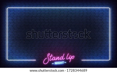 Stand up comedy show neon template. Stand up lettering and glowing neon border frame Stockfoto ©