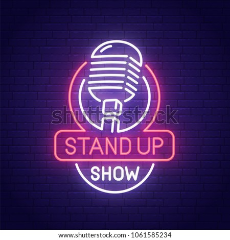 Stand Up neon sign, bright signboard, light banner. Stand Up logo, emblem. Vector illustration