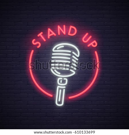 Stand Up neon sign. Neon sign, bright signboard, light banner.