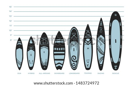 Stand Up Paddle boarding elements collection. SUP surfing vector illustration set of different boards  types like gun, hybrid, all-round, skimboard, longboard, touring, racing and rescue isolated