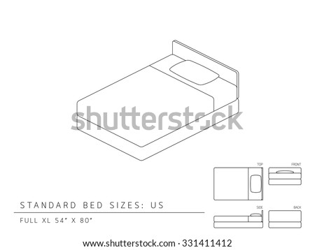 Standard Bed Sizes Of Us United States America Full XL Size 54 X