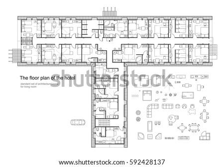 furniture floor plans. standard hotel furniture symbols set used in architecture plans planning icon graphic floor