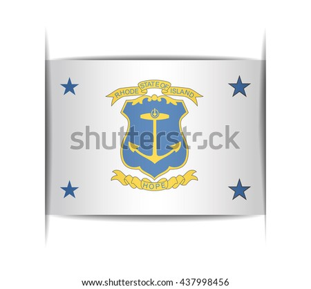 Standard of the Governor of Rhode Island. Vector illustration of a stylized flag. The slit in the paper with shadows. Element for infographics.