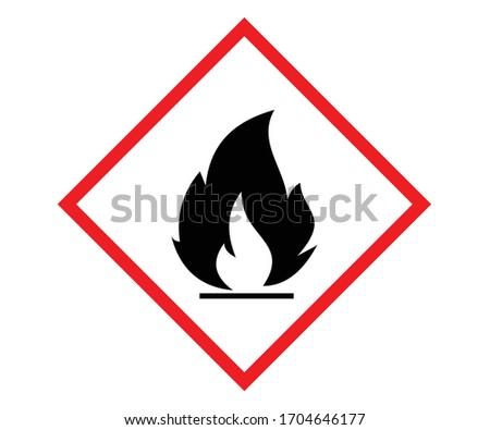 Standard Pictogram of Flammable Symbol, GHS hazard pictogram - FLAMMABLE , hazard warning sign flammable, Flammable, inflammable substances icon. Vector Foto stock ©