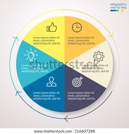 Standard pie chart, graph, diagram with 6 steps, options, parts, processes with arrows. Vector business template for presentation and training.