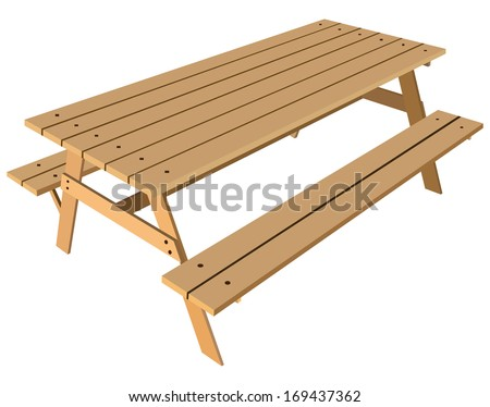 Standard Table With Benches On Either Side Of The Vector Illustration