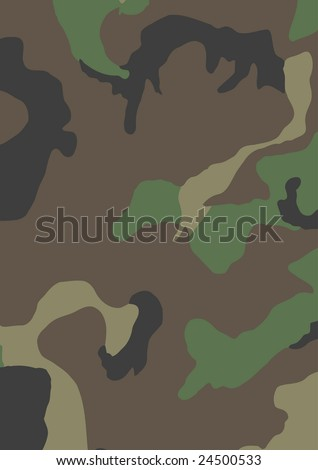 Standard USA 4-Color Woodland Camouflage Pattern. Vector