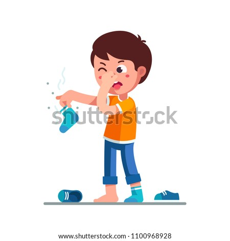 Standing boy kid holding dirty smelling sock in hand closing nose and taking out tongue in yuck face expression. Child smelly sock. Cartoon character feeling bad stinky smell. Flat vector illustration