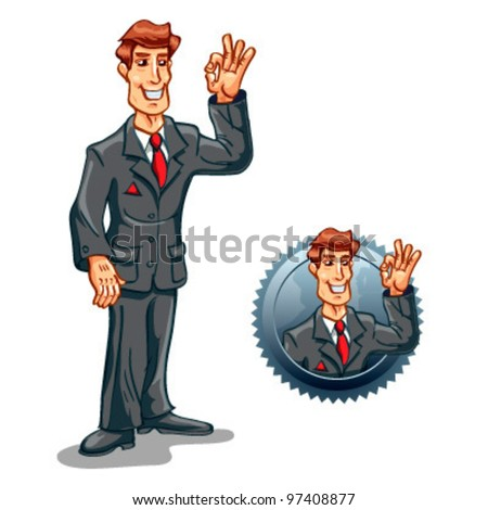 Standing businessman with ok gesture