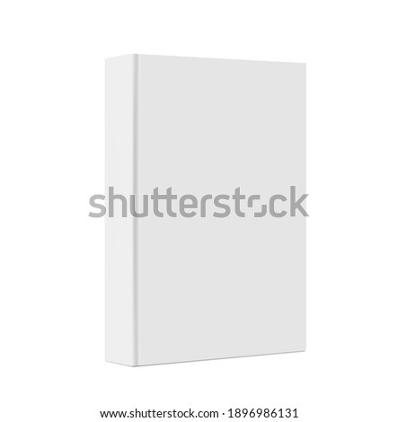 Standing closed book with white Cover. Vertical Blank Mockup. 3d Vector illustration. Empty Book Template. Thick cover. Magazine, album or diary on white background. EPS10.  ストックフォト ©