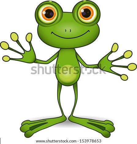 Stock Photo standing cute green frog with big eyes