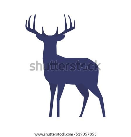 stock-vector-standing-deer-silhouette-on-white-background-vector-illustration