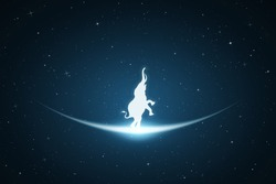 Standing elephant in space. Vector conceptual illustration with white silhouette of endangered animal and glowing outline. Surreal blue background for greeting cards, posters and other design