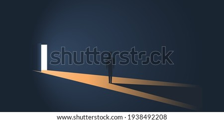 Standing Figure in a Dark Room in Front of an Open Door with Bright Light Coming In From Outside - New Possibilities, Hope, Overcome Problems, Solution Finding Concept Design