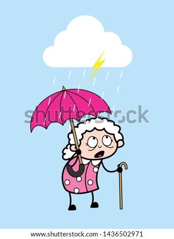 Standing in Rain with Umbrella - Old Woman Cartoon Granny Vector Illustration