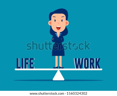 Standing in the middle between life and work. Work and Life balance concept.