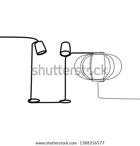 standing lamp and pumpkin lamp one line table lamps with lampshades. Vector illustration. Set of isolated black contoured objects on white background