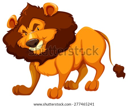 standing lion on white