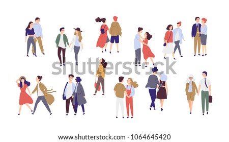 Standing lonely single girl surrounded by happy romantic couples walking together or pairs of men and women on date. Flat cartoon characters isolated on white background. Colorful vector illustration. #1064645420