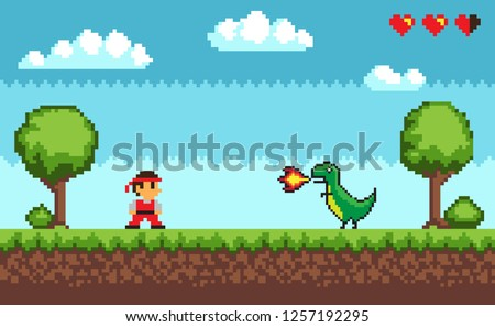 Standing man near tree and bush on grass near big dragon with fire. Colorful level of pixel game on outdoor with symbols hearts and clouds vector