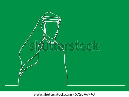 standing middle east arab man in keffiyeh - single line drawing - single line drawing