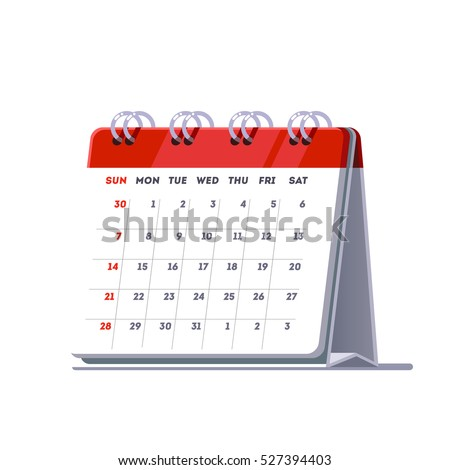 Standing month lined spring desk calendar template icon. Flat style vector illustration isolated on white background.