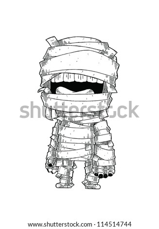 Standing Mummy Halloween Monster Cartoon Vector Illustration