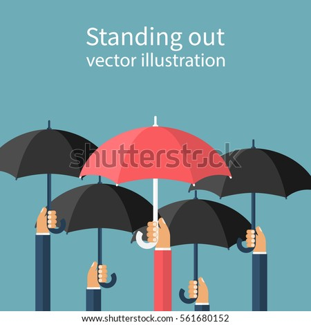 Standing out from the crowd. Uniqueness and individuality. Difference concept. Man holding a red umbrella among people with black umbrellas. Vector illustration flat design. Isolated on background.