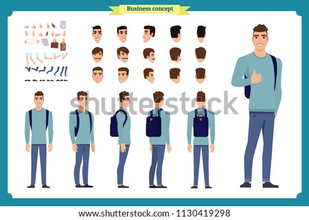 Standing young boy. Male Student Character Creation Kit Template with Different Hair Colors, Body Parts and Accessories. isolated Vector Illustration.Man character constructor.Business college