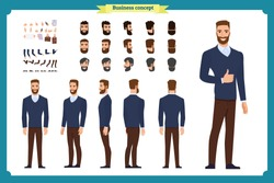 Standing young businessman. Male Student.Front, side, back view animated character. Man character constructor with various views, hairstyles, face emotions. cartoon flat vector isolated. business.male