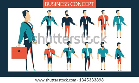 Standing young businessman. Male Student.side view animated character. Man constructor with various character.