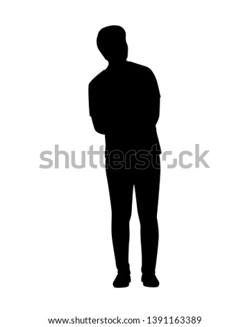 Standing young man silhouette vector