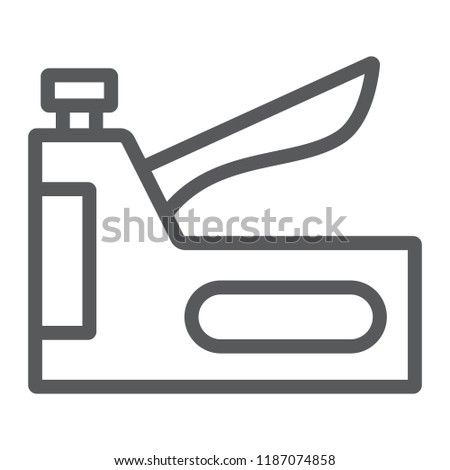 Staple gun line icon, tool and repair, stapler sign, vector graphics, a linear pattern on a white background, eps 10.