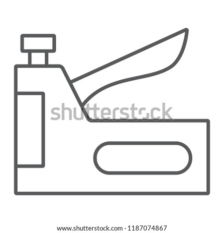 Staple gun thin line icon, tool and repair, stapler sign, vector graphics, a linear pattern on a white background, eps 10.