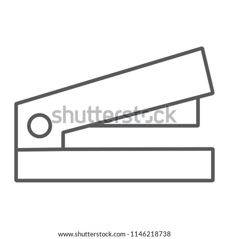 Staple thin line icon, office and work, stapler sign, vector graphics, a linear pattern on a white background, eps 10.