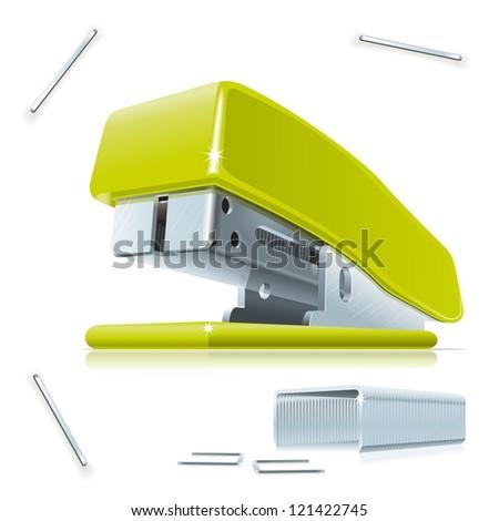 Stapler and staples. Illustration of little green stapler with staples on the table.